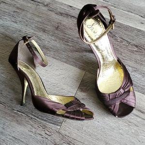 Sam Edelman Silky Brown Peep Toe Heels